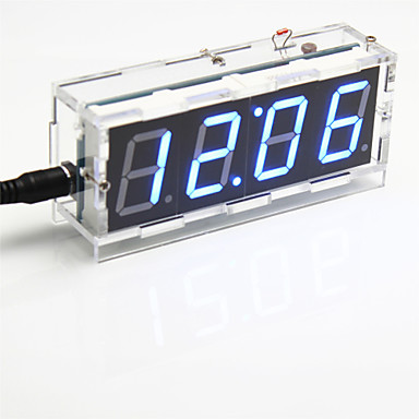 Wholesale DIY 4-digit Seven-segment Display Digital Light Control Desk Clock Kit (Blue Light)
