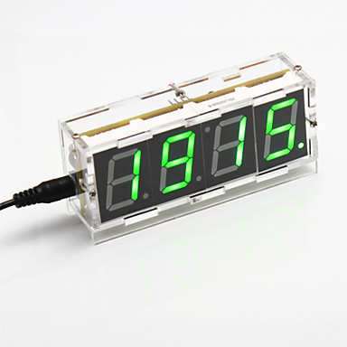 Wholesale DIY 4-digit Seven-segment Display Digital Light Control Desk Clock Kit (Green Light)