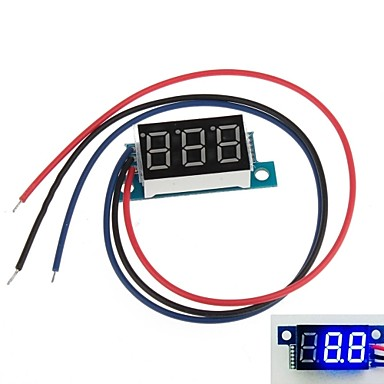 "Wholesale Mini 0.36"" 3 Digital LED Display DC 0V-9.99V Blue Volt Voltage Meter Voltmeter"