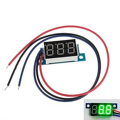 "Wholesale Mini 0.36"" 3 Digital LED Display DC 0V-100V Green Volt Voltage Meter Voltmeter"