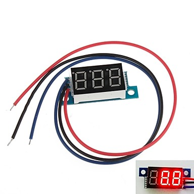 "Wholesale Mini 0.36"" 3 Digital LED Display DC 0V-100V Red Volt Voltage Meter Voltmeter"