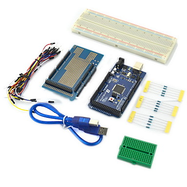 Wholesale (For Arduino) Compatible 2560 Motherboard, V3 Expansion Board, Breadboards, USB Cable and LED Lights Kit