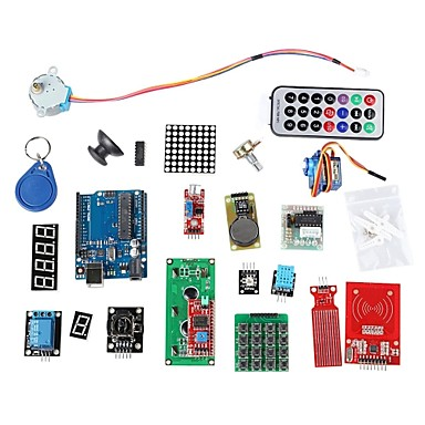 Wholesale RFID System Learning Kit w/UNO R3 Step Motor RFID Module RFID IC Card RFID IC Keychain Based for Arduino