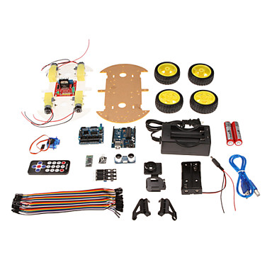 "Wholesale RT0006 Bluetooth Controlled Robot Car Kits for Arduino (With 2.6"" 1602 LCD Display)"