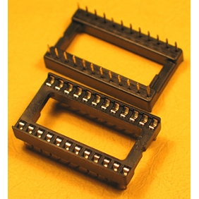 "Wholesale 24 Pin IC Socket Dual Wipe Type 0.1"" Pitch 0.6"" Row 20pcs/tube"